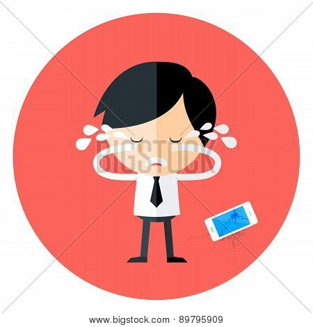 Crying Businessman With Broken Phone Circle Icon