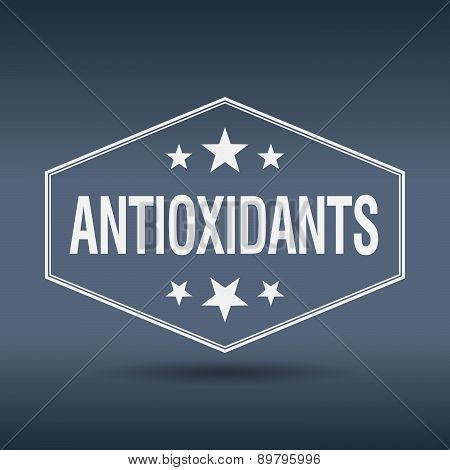 Antioxidants Hexagonal White Vintage Retro Style Label