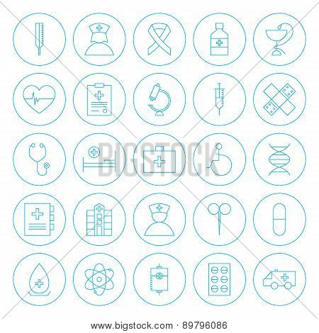 Line Circle Health Care Medical Icons Set