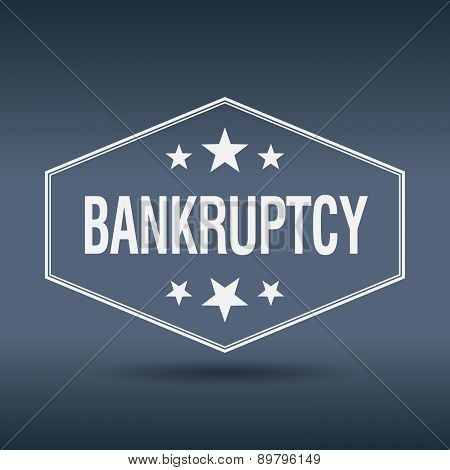 Bankruptcy Hexagonal White Vintage Retro Style Label