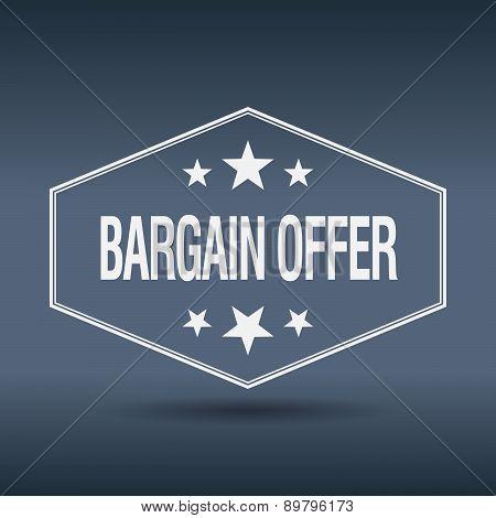 Bargain Offer Hexagonal White Vintage Retro Style Label
