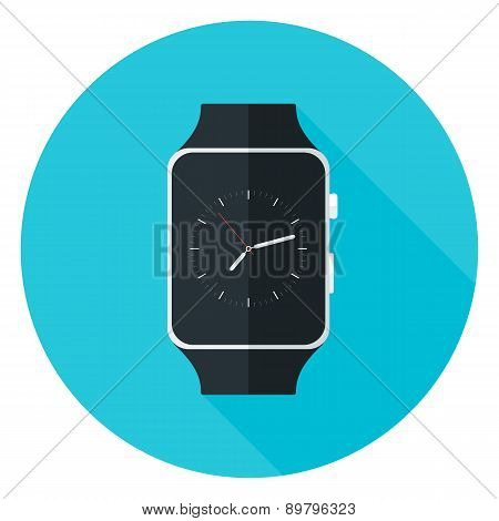 Smart Watch Flat Circle Icon