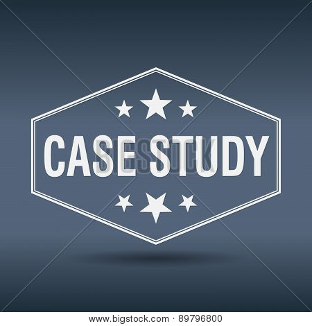 Case Study Hexagonal White Vintage Retro Style Label