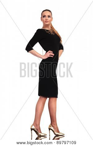 Sexy young business woman wearing a elegant black dress, standn on studio background, looking away.