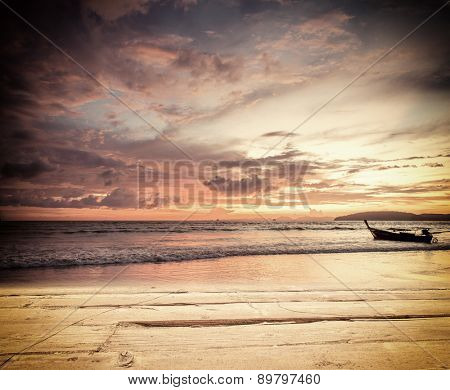 Sunset on the beach of Ao Nang in Krabi Thailand