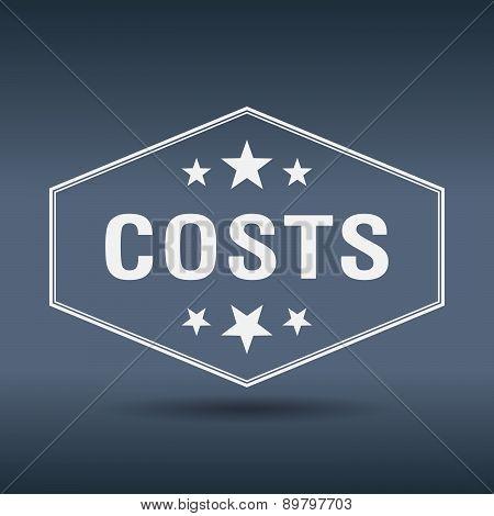 Costs Hexagonal White Vintage Retro Style Label