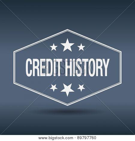 Credit History Hexagonal White Vintage Retro Style Label