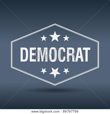 Democrat Hexagonal White Vintage Retro Style Label
