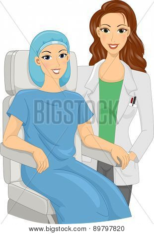 Illustration of a Girl Doctor with her Patient sitting by her side