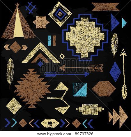Hand drawn tribal elements set on black background