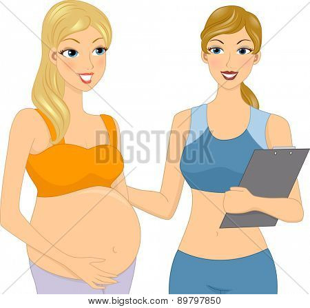 Illustration of a Pregnant Girl with her Gym Coach