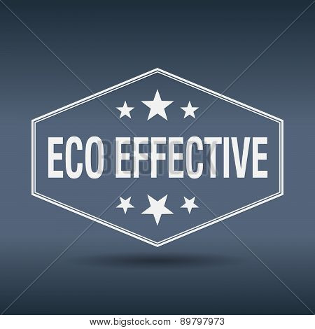 Eco Effective Hexagonal White Vintage Retro Style Label