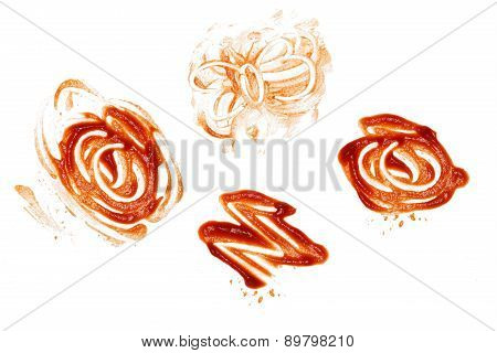 Ketchup Spill Stain Mucky White Background