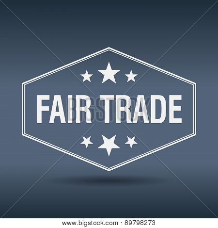 Fair Trade Hexagonal White Vintage Retro Style Label