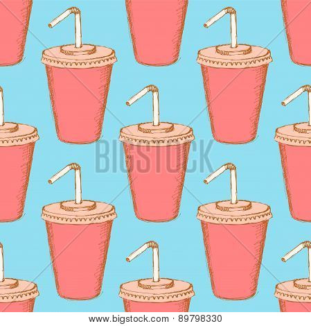 Sketch Soda Cup In Vintage Style