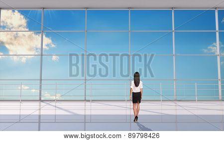 Businesslady standing back