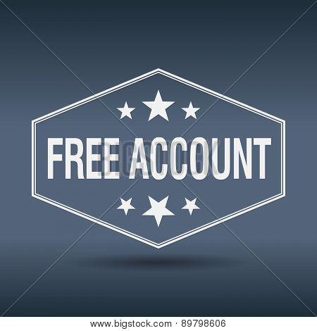 Free Account Hexagonal White Vintage Retro Style Label