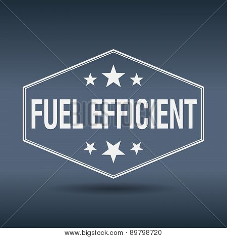 Fuel Efficient Hexagonal White Vintage Retro Style Label