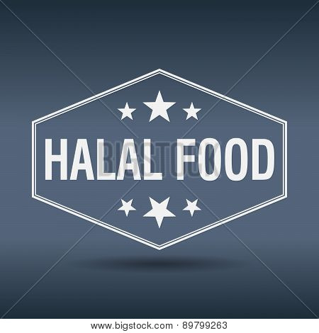 Halal Food Hexagonal White Vintage Retro Style Label