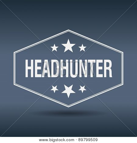 Headhunter Hexagonal White Vintage Retro Style Label