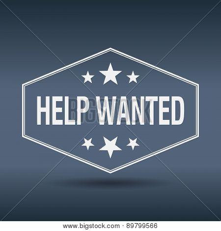 Help Wanted Hexagonal White Vintage Retro Style Label