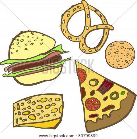 Set baking fastfood vector illustration