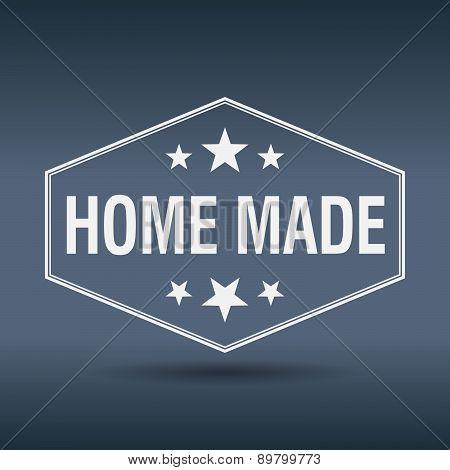 Home Made Hexagonal White Vintage Retro Style Label