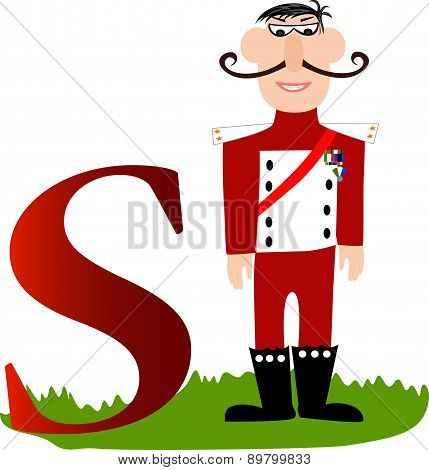 Illustrated alphabet letter S and soldier