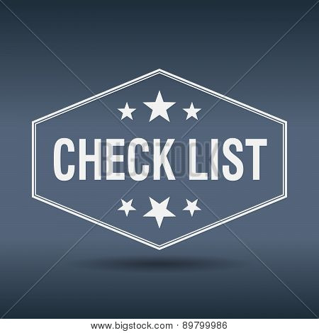 Check List Hexagonal White Vintage Retro Style Label