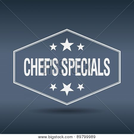 Chef's Specials Hexagonal White Vintage Retro Style Label