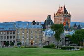 image of chateau  - Quebec City skyline with Chateau Frontenac at sunset viewed from hill - JPG