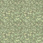 image of fallen  - colorful fallen leaves and branches seamless pattern - JPG