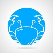image of blue crab  - Abstract blue round vector icon with white line crab on gray background - JPG