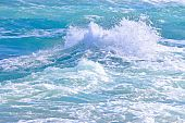 stock photo of rough-water  - Rough waves of Mediterranean sea near Africa - JPG