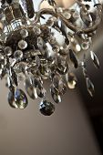 picture of chandelier  - Glass chandelier and pendants inside a living room - JPG