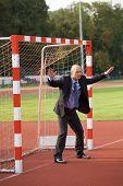 picture of defender  - Businessman defending goal - JPG
