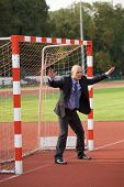 foto of defender  - Businessman defending goal - JPG