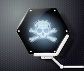 stock photo of skull crossbones  - Futuristic screen with skull and crossbones on a gray background - JPG
