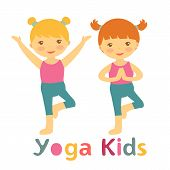 image of yoga  - Cute yoga kids card with little girls doing yoga - JPG