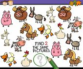 foto of brain teaser  - Cartoon Illustration of Finding Two Exactly the Same Pictures Educational Game for Preschool Children with Farm Animals - JPG