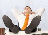 foto of recliner  - Businessman sleeping - JPG