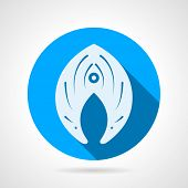 foto of long-fish  - Single round blue flat vector icon with white silhouette fish slice on gray background - JPG