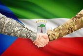 image of guinea  - Soldiers shaking hands with flag on background  - JPG