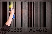 pic of barcode  - Hand drawing a barcode on the wall  - JPG