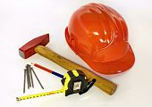 stock photo of hse  - Basic tools and equipments for a construction site formwork worker - JPG