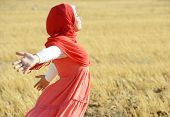 foto of muslim kids  - Muslim girl enjoying in nature - JPG