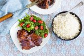 image of bast  - Grilled boneless chicken thighs marinated and basted in a mixture of guava jam shoyu oyster sauce and seasonings - JPG