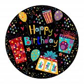foto of sweet sixteen  - Beautiful happy birthday greeting card with gift and balloons in bright colors - JPG