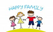 picture of freehand drawing  - happy family drawing over grass - JPG