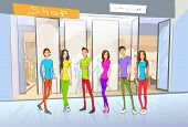 picture of shopping center  - People Friends Shopping - JPG